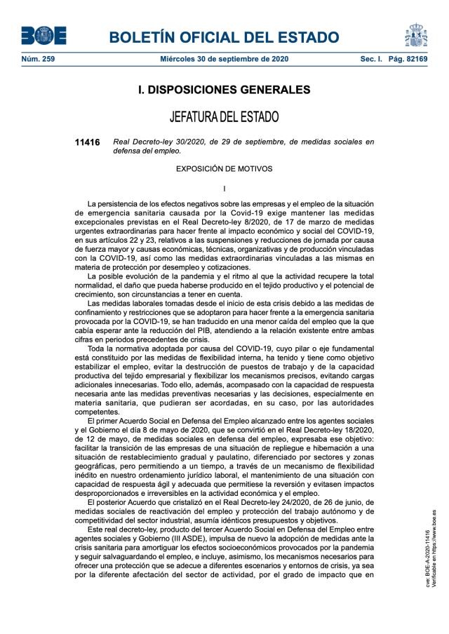 Real Decreto-ley 30/2020, de 29 de septiembre, de medidas sociales en defensa del empleo.