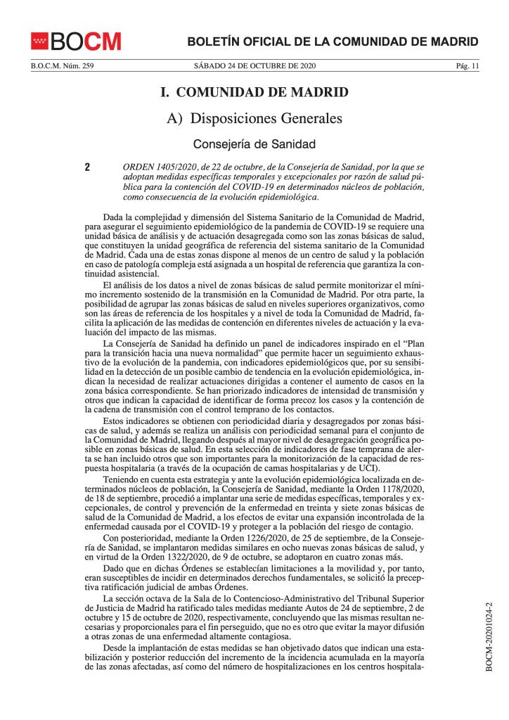 Medidas específicas temporales y excepcionales por razón de salud pública para la contención del COVID-19 en determinados núcleos de población.