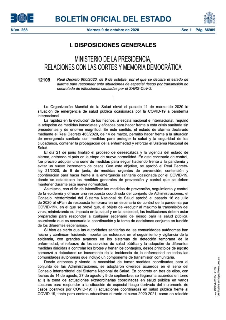 REAL DECRETO 900/2020, DE 9 DE OCTUBRE, POR EL QUE SE DECLARA EL ESTADO DE ALARMA