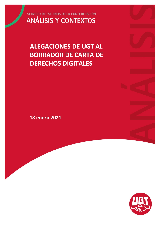 ALEGACIONES DE UGT AL BORRADOR DE CARTA DE DERECHOS DIGITALES