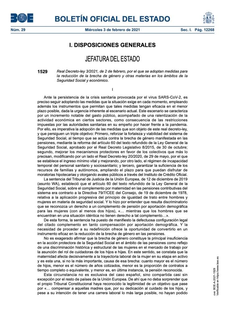 MEDIDAS PARA LA REDUCCIÓN DE LA BRECHA DE GÉNERO Y OTRAS MATERIAS EN LOS ÁMBITOS DE LA SEGURIDAD SOCIAL Y ECONÓMICO.