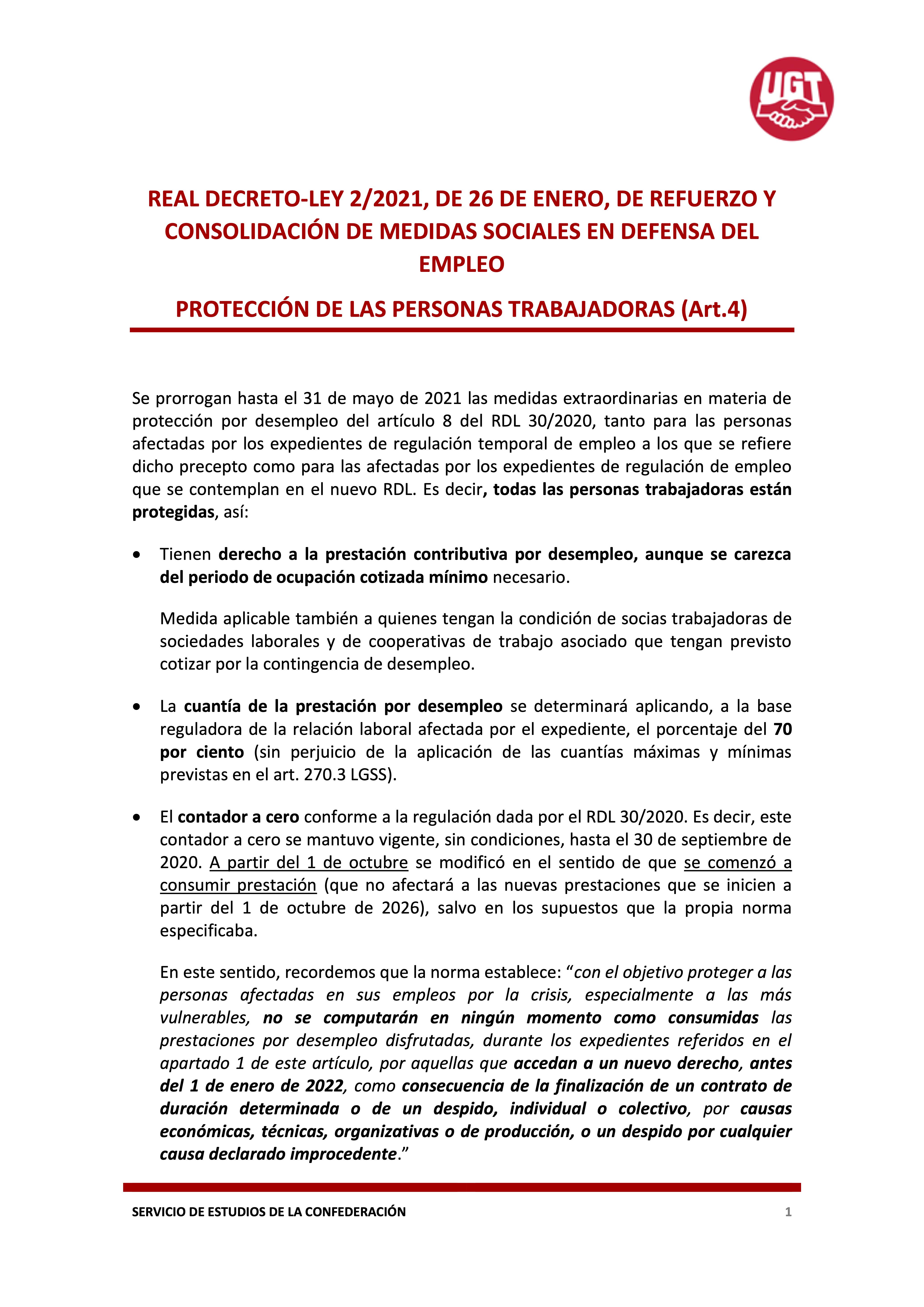 REAL DECRETO-LEY 2/2021, DE 26 DE ENERO, DE REFUERZO Y CONSOLIDACIÓN DE MEDIDAS SOCIALES EN DEFENSA DEL EMPLEO PROTECCIÓN DE LAS PERSONAS TRABAJADORAS (Art.4)