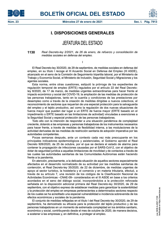 Real Decreto-ley 2/2021, de 26 de enero, de refuerzo y consolidación de medidas sociales en defensa del empleo.