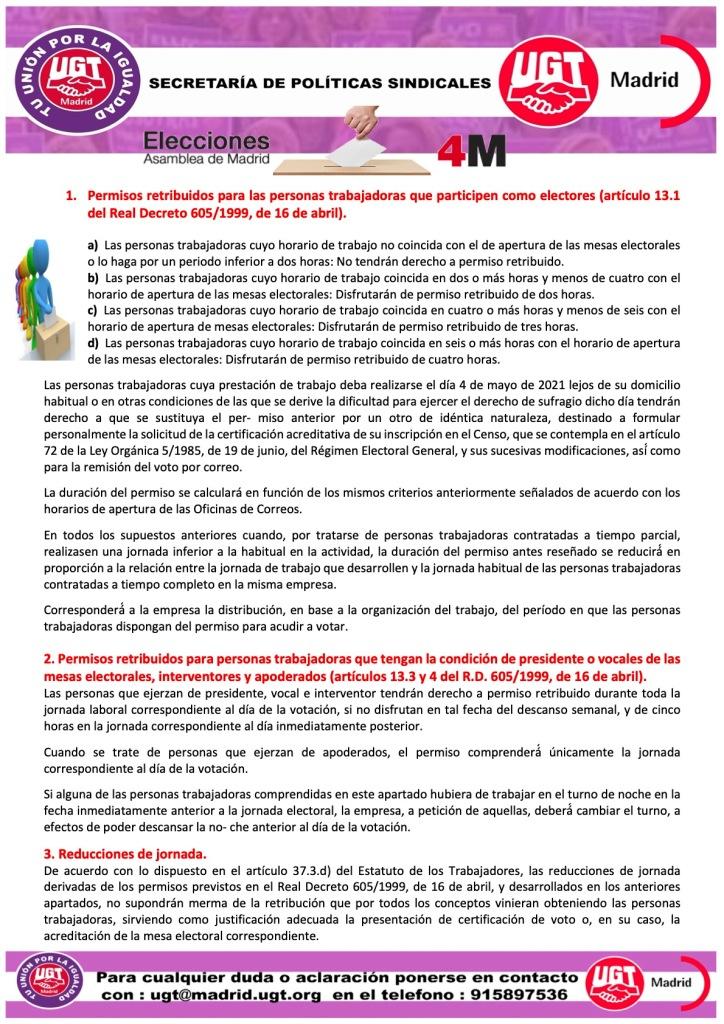 PERMISOS RETRIBUIDOS ELECCIONES AUTONÓMICAS 4 DE MAYO DE 2021
