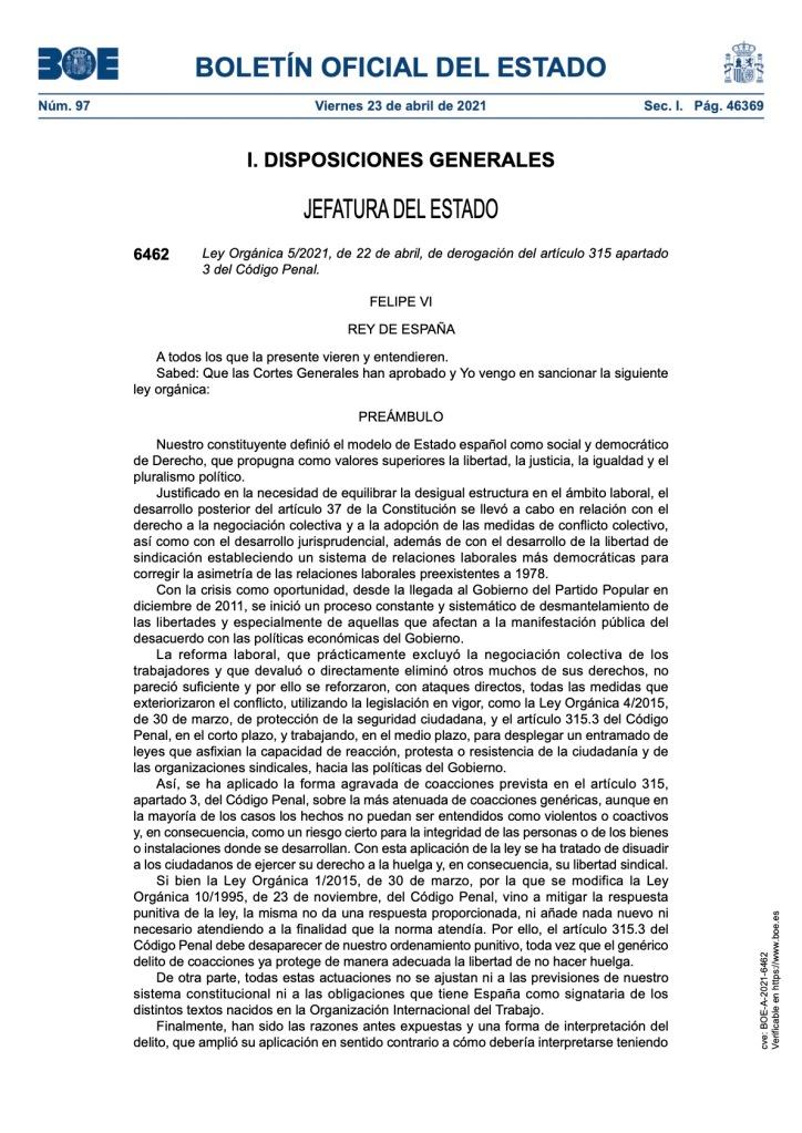 DEROGACIÓN DEL ARTÍCULO 315.3 DEL CÓDIGO PENAL QUE CRIMINALIZA EL DERECHO A HUELGA.