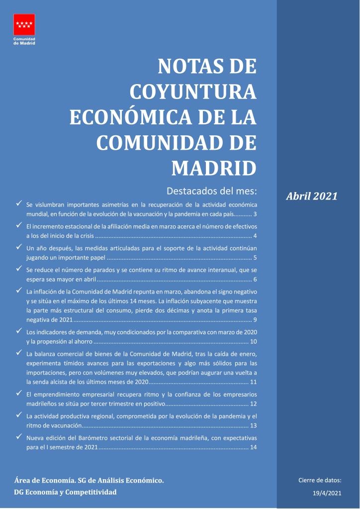 NOTAS DE COYUNTURA ECONÓMICA DE LA COMUNIDAD DE MADRID