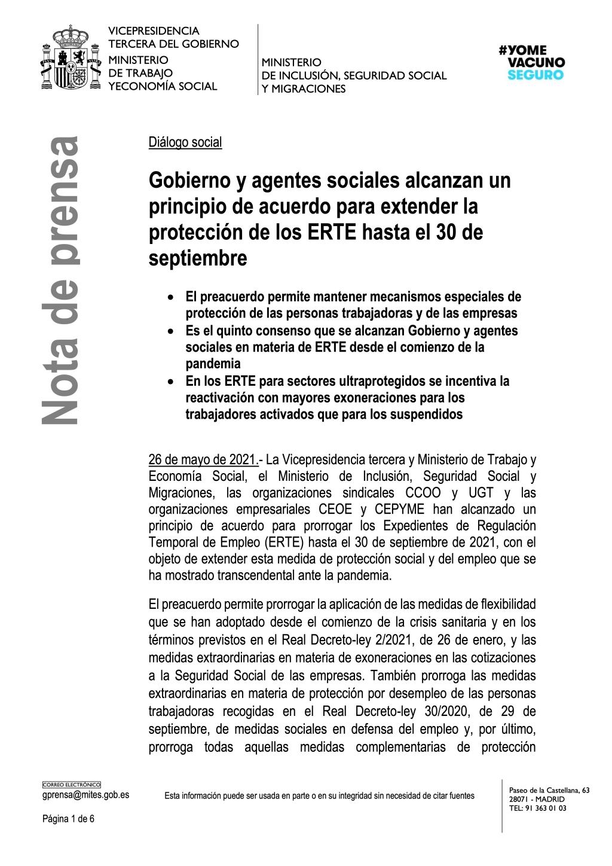 ACUERDO PARA EXTENDER LA PROTECCIÓN DE LOS ERTE HASTA EL 30 DE SEPTIEMBRE