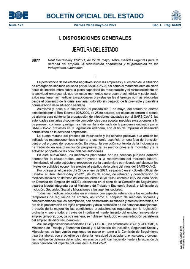 MEDIDAS URGENTES PARA LA DEFENSA DEL EMPLEO, LA REACTIVACIÓN ECONÓMICA Y LA PROTECCIÓN DE LOS TRABAJADORES AUTÓNOMOS