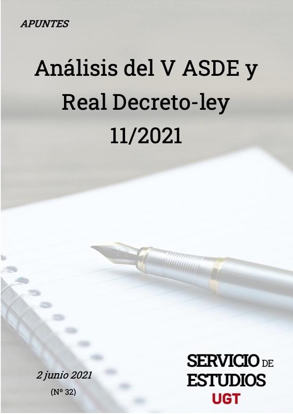 ANÁLISIS DEL V ASDE Y REAL DECRETO-LEY 11/2021