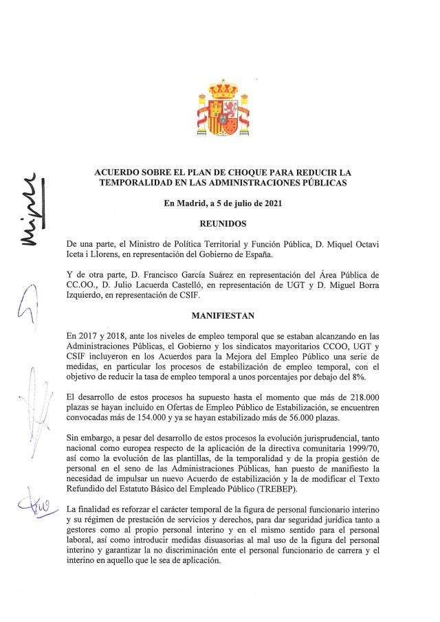 Acuerdo sobre el plan de choque para reducir la temporalidad en las Administraciones Públicas.