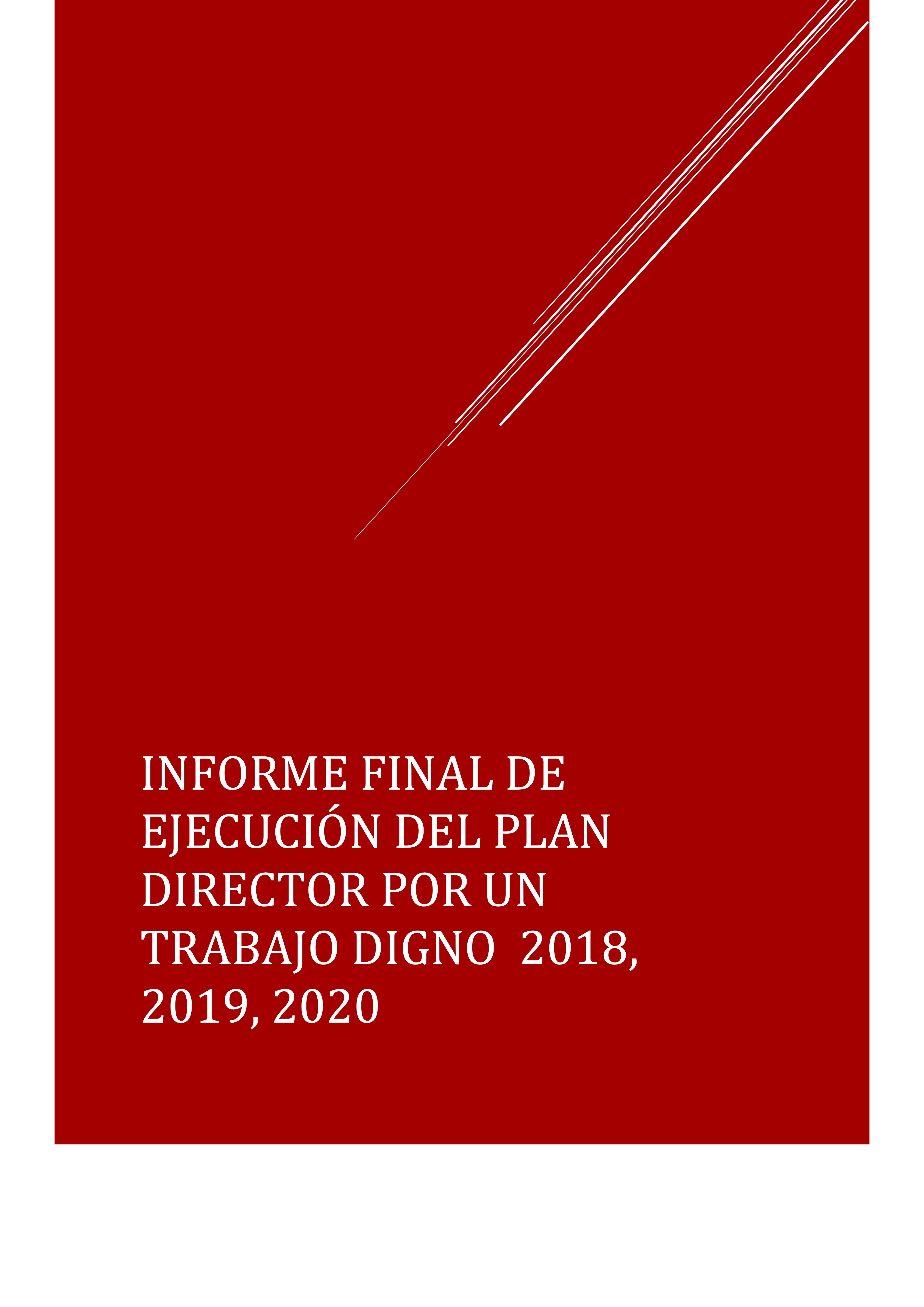 Informe final Plan Director Por un trabajo digno