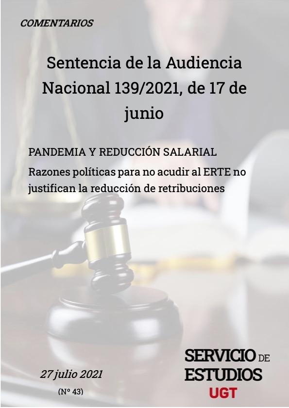 PANDEMIA Y REDUCCIÓN SALARIAL Razones políticas para no acudir al ERTE no justifican la reducción de retribuciones