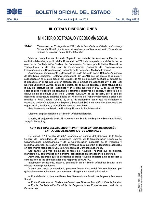 Resolución de 28 de junio de 2021, de la Secretaría de Estado de Empleo y Economía Social, por la que se registra y publica el Acuerdo Tripartito en materia de solución de conflictos laborales.