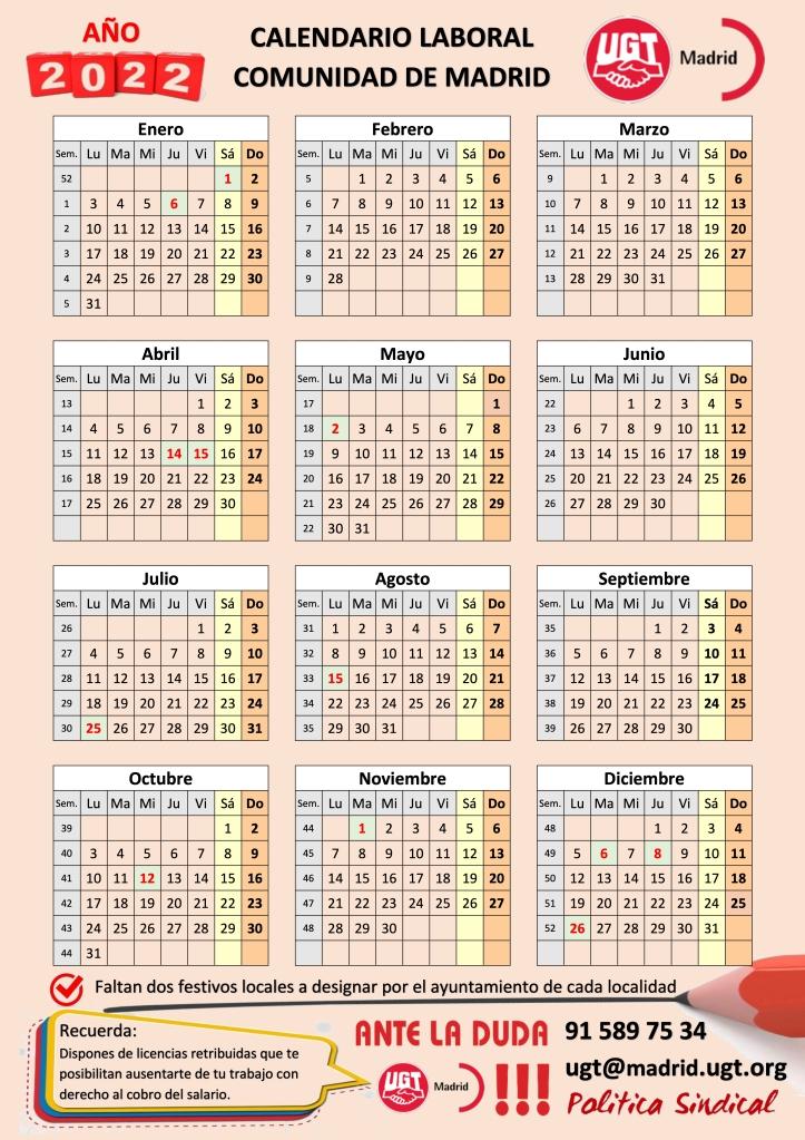 📆 Calendario LABORAL 2022 👉 Comunidad de Madrid