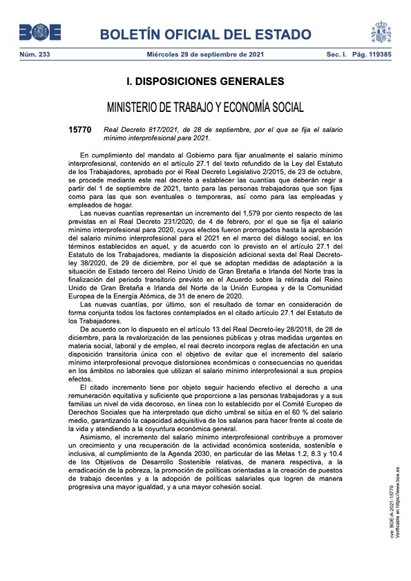 Real Decreto 817/2021, de 28 de septiembre, por el que se fija el salario mínimo interprofesional para 2021.